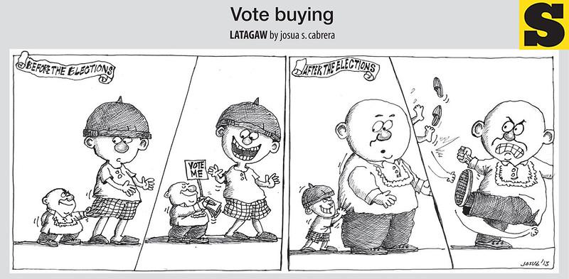 Vote buying cartoon (Cartoon Josua Cabrera of Sun.Star Cebu)