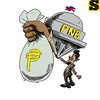 Editorial cartoon on Philippine National Bank money