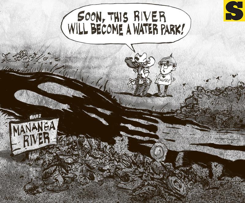 Sun.Star Cebu editorial cartoon - Mananga River as water park