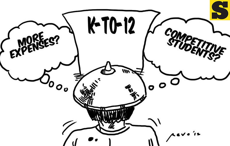 Sun.Star Bacolod editorial cartoon on K to 12 education curriculum.