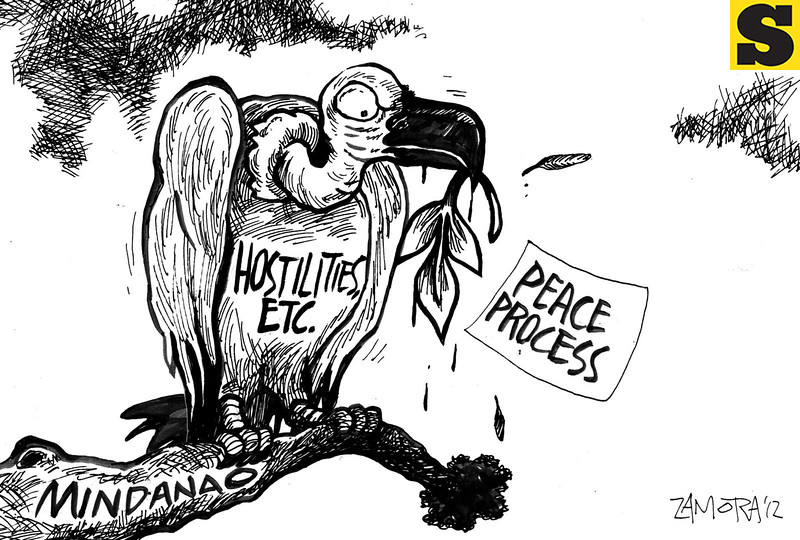 Sun.Star Davao editorial cartoon for September 11, 2012 depicts hostilities in Mindanao that the Philippine government has to address.