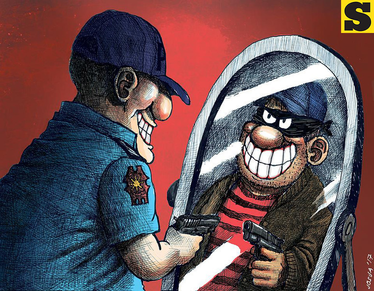 SunStar Cebu editorial cartoon on the Philippine National Police's move to cleanse its ranks of scalawags