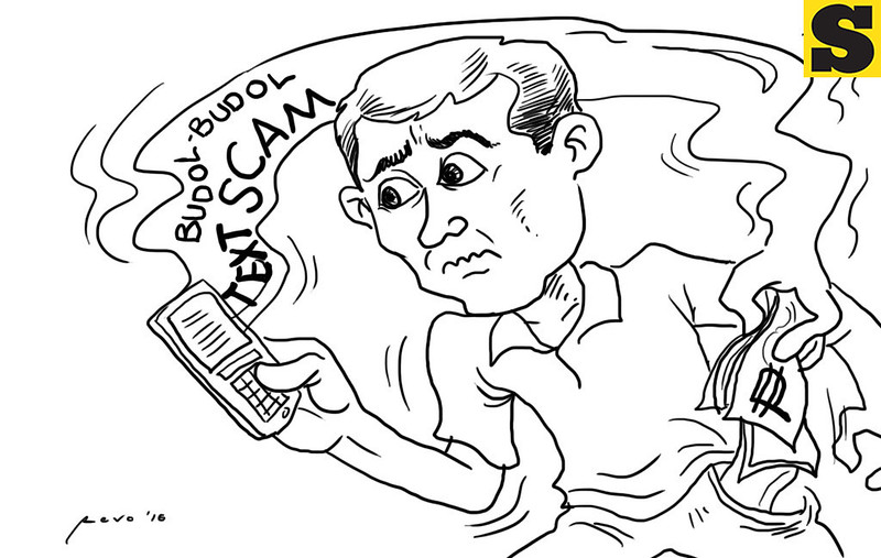 Sun.Star Bacolod editorial cartoon on Budol-Budol text scam