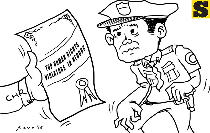Sun.Star Bacolod editorial cartoon on top human rights violators in Negros Occidental
