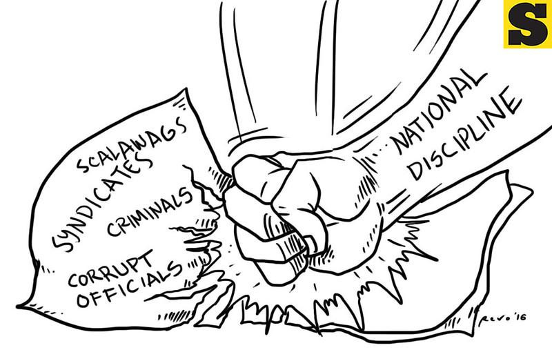 Sun.Star Bacolod editorial cartoon on Rodrigo Duterte's natiional discipline