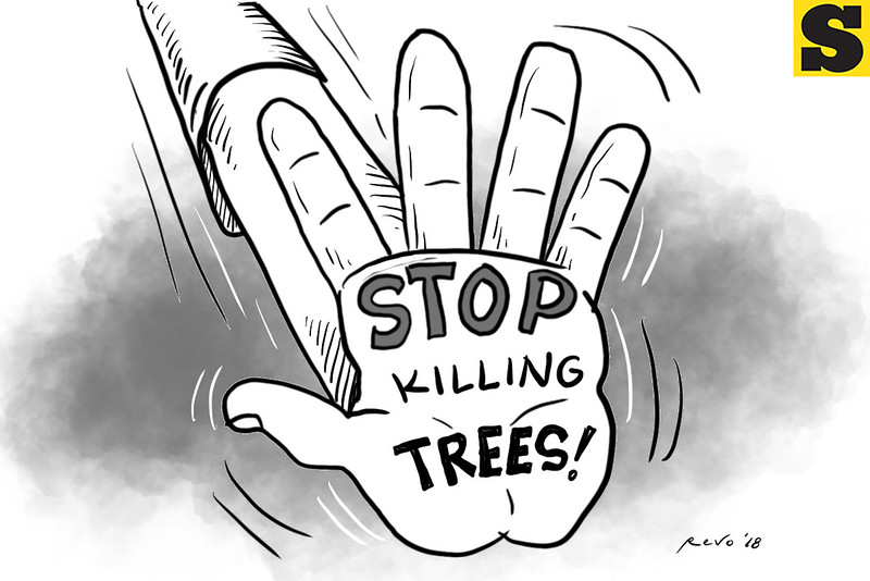 SunStar Bacolod editorial cartoon - Stop killing trees