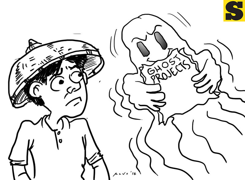 Sun.Star Bacolod editorial cartoon on ghost projects