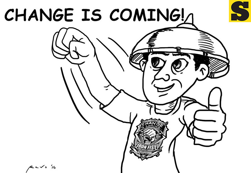 Sun.Star Bacolod editorial cartoon on Change is Coming with Rodrigo Duterte presidency