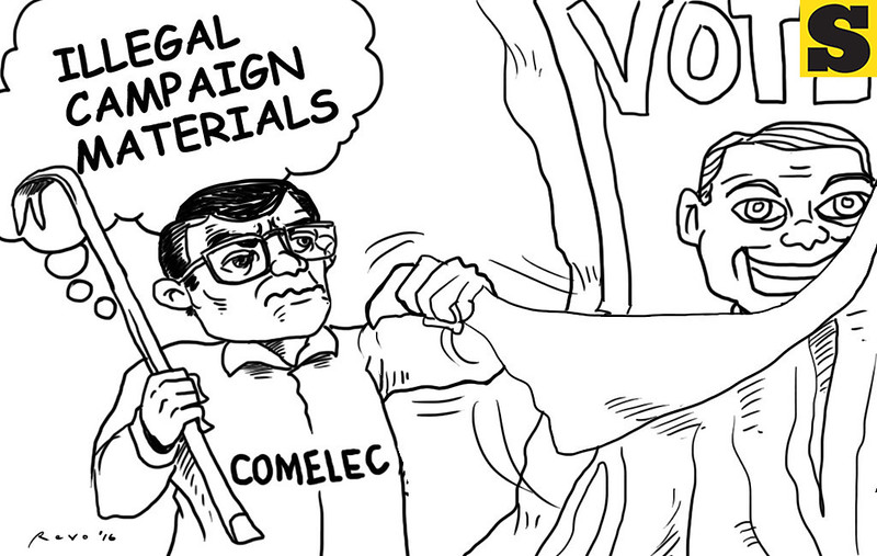 Sun.Star Bacolod editorial cartoon on illegal election campaign materials