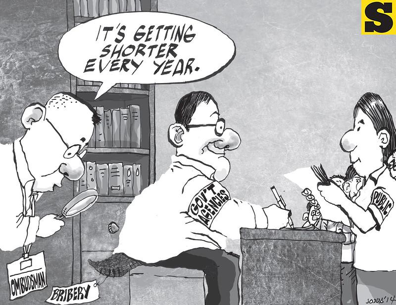 Sun.Star Cebu's editorial cartoon on bribery for November 27, 2014 issue