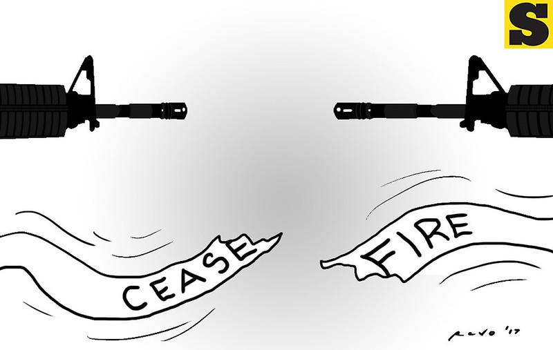 SunStar Bacolod's editoria cartoon on ceasefire