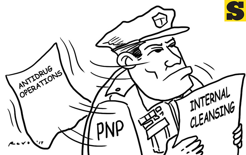 SunStar Bacolod editorial cartoon on police anti-drug operations and internal cleansing