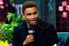 "Nnamdi Asomugha visits the BUILD Speaker Series to discuss the new Broadway play ""A Soldier's Play"", New York, USA"