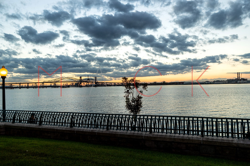 Sunset over the Hoboken River, Jersey City, USA