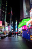 Times Square area with very few tourists, New York, USA