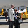 Boeing South Carolina Vice President Jack Jones and Kenya Airways Capt. Irene Koki Mutungi pose near a 787 Dreamliner. (Photo/Liz Segrist)