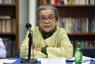 Marian Wright Edelman talks to a group of students about the impact of Katrina on public education in New Orleans and the importance of finding strong role models for young African American boys in urban school systems.