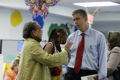 Marian Wright Edelman chats with Arne Duncan after visiting with students from a CDF facility in New Orleans, LA.