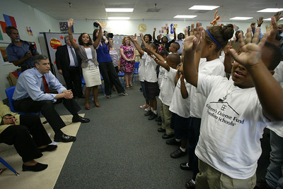 Children's Defense Fund Freedom School students sing a song for visiting dignitaries during a site visit, Friday, May 7, 2010 in New Orleans, LA
