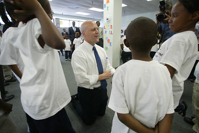 Mayor Mitch Landrieu, New Orleans, La, chats with children from the Children's Defense Fund Freedom School.