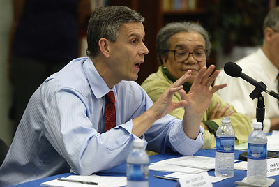 Arne Duncan, U.S. Secretary of Education talks about the impact of Hurricane Katrina on public education as Marian Wright Edelman, founder and Executive Director of the Children's Defense Fund looks on, Friday, May 7, 2010 in New Orleans, LA.