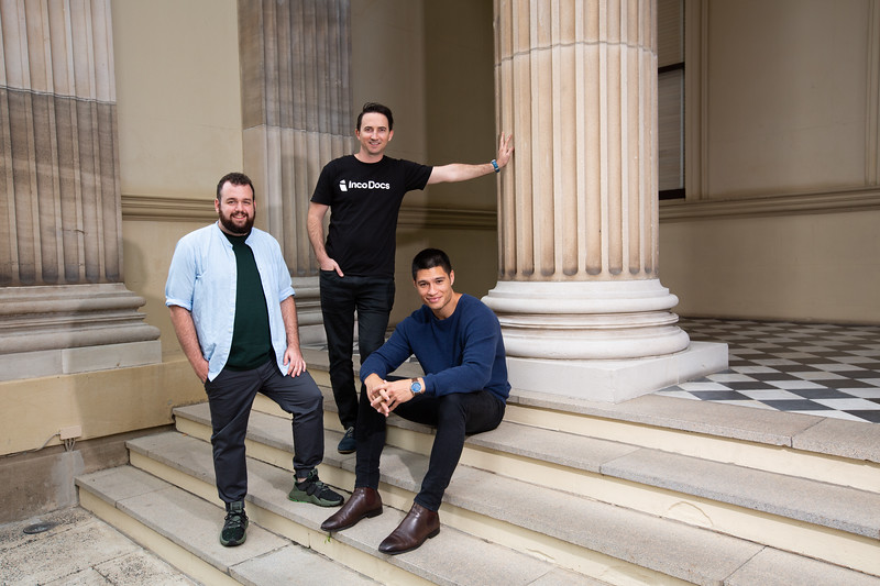 Brandon Boor (blue), David Hooper (green) and Ben Thompson (IncoDocs T-shirt) Incodocs, 29 April 2019, Brisbane. Photo: Attila Csaszar