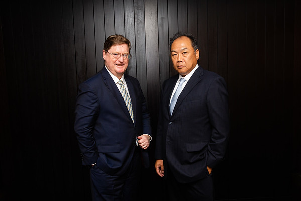 Shane Stephan New Hope Group and Tetsuma Chiba JFE Steel Corporation at Australia Japan Coal Conference. 18 Oct 2018, Brisbane. Photo: Attila Csaszar
