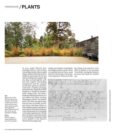 Landscape Architecture Magazine Dec 2018 interior spread of Sean Hogan's incredible landscape design at Argyle Winery page 2