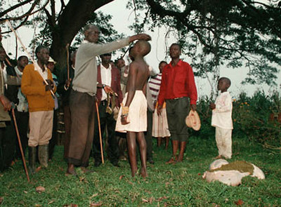 The following morning a cow was butchered and the stomach contents spread on his head. Owning cattle is a sign of wealth and being connected to them is important.