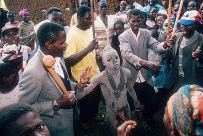 With the circumcision finished the village dances and celebrates their new warrior.
