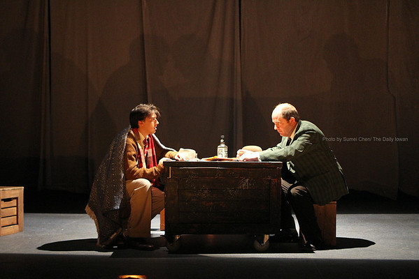 Iowa City, Iowa-  Only two actors, Kipps (left, Andres Enriquez), the Actor (Kendall Lloyd) --and one ghost-- perform the entire play, the Woman in Black. This play, presented by Iowa Summer Rep, will be performing at E.C. Mabie Theatre of the Theater Building at 8 p.m. on June 28, 29, 30 and July  5, 6, 7. (The Daily Iowan/Sumei Chen)