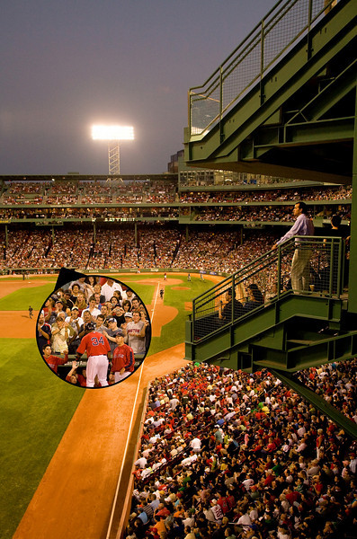 8/30/08 Boston, MA -- ADVANCE for Magazine. ***A photo illustration*** of 2 combined photos illustrating Red Sox fans in good seats at Fenway Park for a story on ticket resellers August 30, 2008.  Erik Jacobs for the Boston Globe