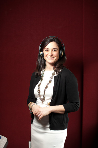 "2/1/12 Medford, MA -- Portrait of Kendra Petrone at Kiss 108 studios in Medford, February 1, 2012.   Petrone is a Producer for the Matty in the Morning Show and says the Adele song ""Someone Like You"" would make her emotional whenever it would come at the station.  ""It's the way she describes her heartbreak.  Every girl I know, including myself, has had that feeling.  She nailed it.  It hits home,"" Petrone said.   Erik Jacobs for the Boston Globe"