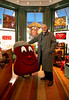 "1/2/09 Boston, MA -- ADVANCE for G.  Portrait of Tom Hayes, a local comedian who has created ""the Bean,'' a Boston baked bean mascot that has sprouted a new line of toys being sold out of Beantown Toys on Newbury Street January, 2 2009.  Erik Jacobs for the Boston Globe"
