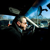 12/6/07 Boston, MA -- Fred Meister navigates his taxi through the streets of Boston and discusses Hackney rules and regulations with Boston Globe columnist Alex Beam Thursday December 6, 2007.  Erik Jacobs for the Boston Globe