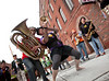 10/1/11 Somerville, MA -- Members of the Leftist Marching Band perform in Davis Square during the sixth annual HONK! Festival in Somerville, Mass. October 1, 2011.  Erik Jacobs for the Boston Globe