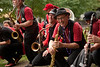 10/1/11 Somerville, MA -- Members of the Second Line Social Aid and Pleasure Society perform during the sixth annual HONK! Festival in Somerville, Mass. October 1, 2011.  Erik Jacobs for the Boston Globe