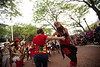 10/1/11 Somerville, MA -- Brittany Cox, left, of Somerville dances with a member of the Extraordinary Rendition Band in Davis Square during the sixth annual HONK! Festival in Somerville, Mass. October 1, 2011.  Erik Jacobs for the Boston Globe