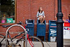 8/2/11 Brookline, MA -- Advance for Living. Portrait of Lindsey Warriner, who has written over 200 postcards over the past year, in front of her local post office in Brookline Mass. August 2, 2011.  Erik Jacobs for the Boston Globe