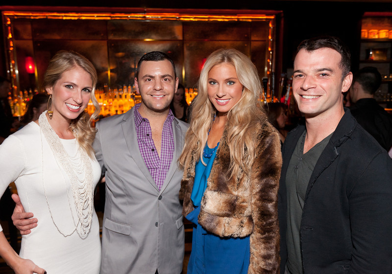 """10/23/11 Boston, MA -- From left, April Soderstrom, Sal Malafronte, Natalie Pietrzak and Darin Contini, all of Boston, at Red Lantern in Boston to celebrate the launch of Style Network's new reality series, """"Wicked Fit,"""" October 23, 2011.  The cast & crew of the show gathered together with family and friends to watch  the series premiere, which documents series star & Taunton native Katie Boyd's success as a former Boston-area beauty-queen-turned-personal-pageant-trainer and owner of Katie Boyd's Miss Fit Club, located in Wellesley, Mass.  Erik Jacobs for the Boston Globe"""