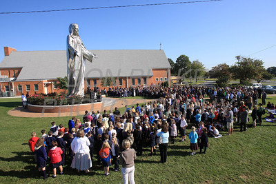 Catholic school students from around the Diocese gather for the Rosary Rally at the Our Lady Queen of Peace statue on the grounds of Holy Spirit Church in New Castle, Friday, October 7, 2011. photo/Don Blake Photography