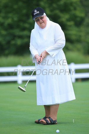 Sr. Jeanne, LSP tries her hand at putting during the Little Sisters of the Poor 4th Annual Swing Fore Sisters Golf Outing at Cavaliers Country Club, Newark, Del., Thursday, June 30, 2011. The Dialog/Don Blake