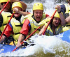 Prime Minister Jean Chretien screams as he hits the rapids on the Ottawa river near Foresters Falls Ont., west of Ottawa, as he enjoys a white water rafting trip in this July 27, 2000 file photo. Chretien said Wednesday he will not seek a fourth mandate and will leave office in February 2004. (CP PICTURE ARCHIVE - Fred Chartrand)