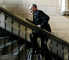 Prime Minister Jean Chretien races up the stairs from the House of Commons to his office after Question Period, Wednesday December 11, 2002.   Fred Chartrand/The Canadian Press