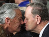 Canadian Prime Minister, Jean Chretien comes forward to hongi, a welcoming gesture, with Hugh Kawharu, a Maori elder during a welcoming of the APEC conference in Auckland, New Zealand, in this Sept. 12, 1999 file photo. Chretien said Wednesday he will not seek a fourth mandate and will leave office in February 2004. (CP PICTURE ARCHIVE/Fred Chartrand)