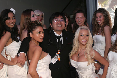 Grin and bare it! One of the creators of the video game Final Fantasy XIII at a Maxim Magazine sponsored roll out party.
