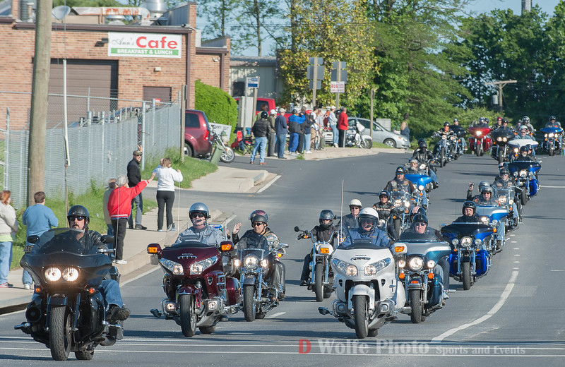 The first of thousands of riders to come out of the Gaithersburg staging area for Rolling Thunder.