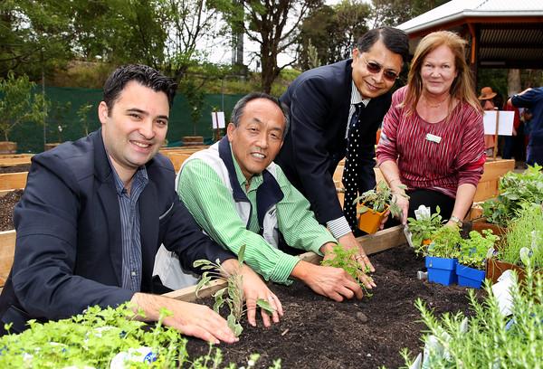 Opening of the Laker Reserve Community Centre in Strathfield. From left: Mayor Daniel Bott, Deputy Mayor Sang Ok, Councillors Raj Datta and Helen McLucas.