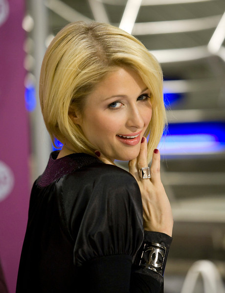 Paris Hilton at a launchof a line of her shoes in Montreal in April 2008. Fred Chartrand.