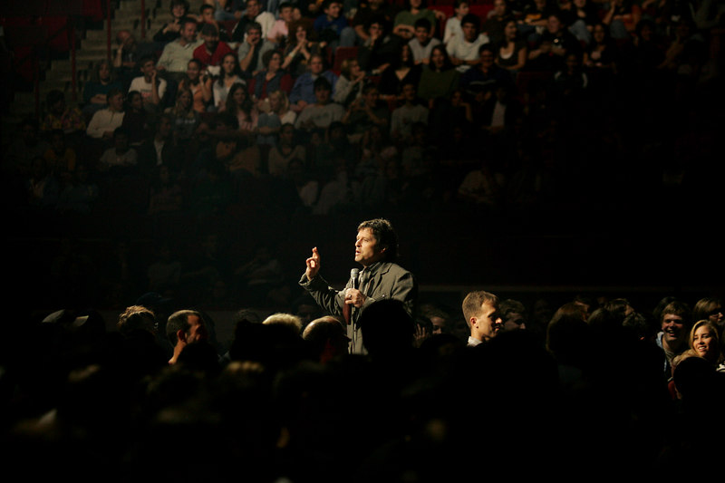 Amherst, MA 9/22/06.  Ron Luce talks with a participants during the first session at Acquire the Fire, a evangelical Christian event aimed at bringing teenagers back into the religious fold.  The two day event was held at the Mullins Center in Amherst, MA September 22nd and 23rd, 2006.